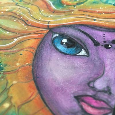 Art journal Whimsical face detail