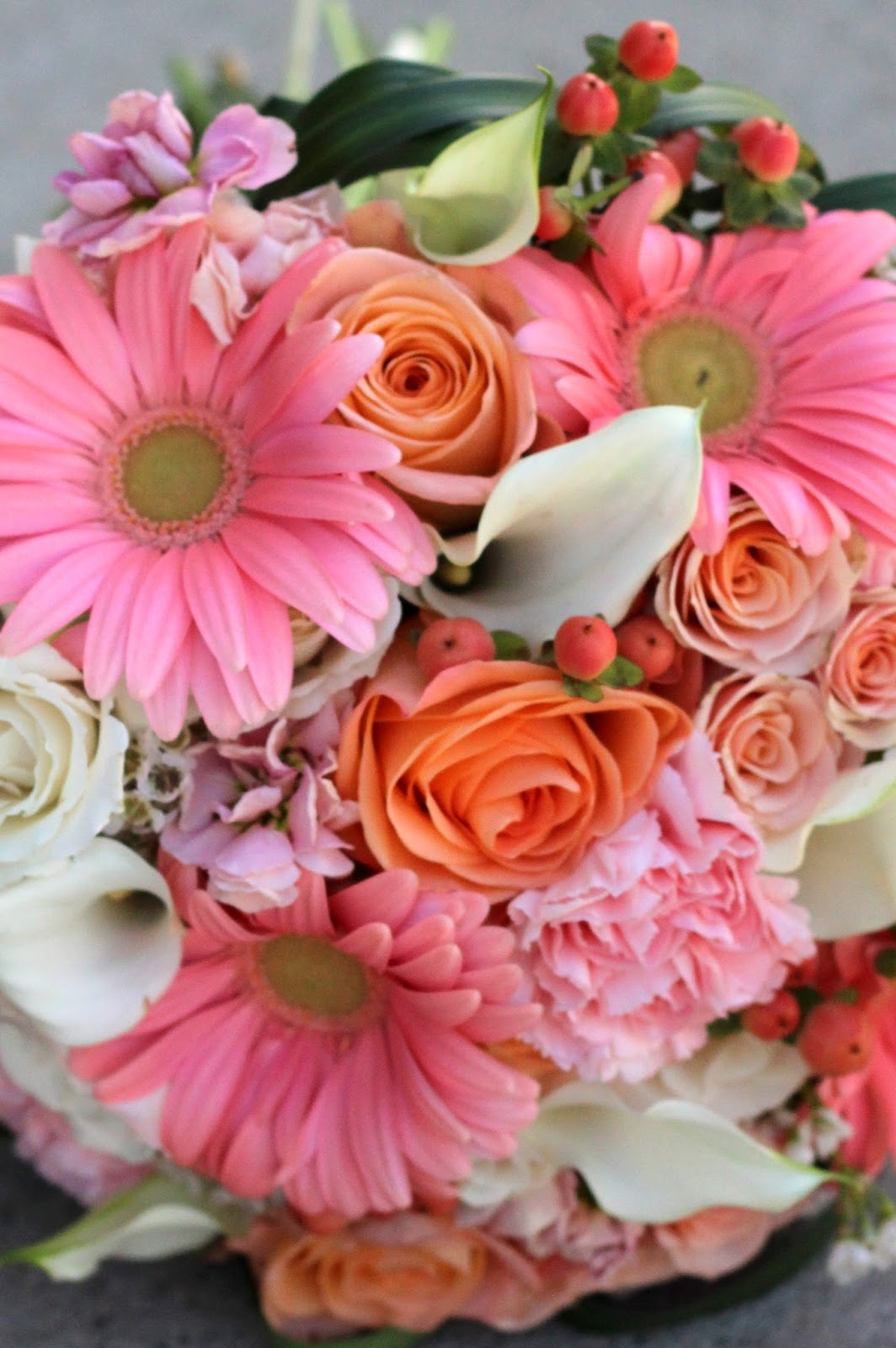 Pink and Peach Wedding Flowers |