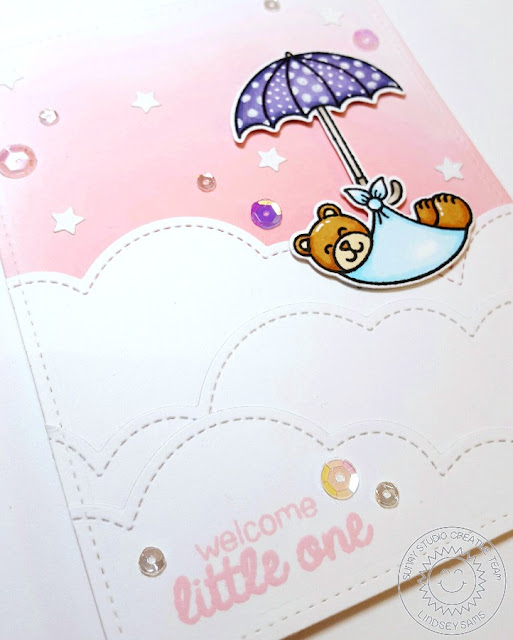 Sunny Studio Stamps: Baby Bear & Rain or Shine Baby Bundle & Umbrella Card by Lindsey Sams