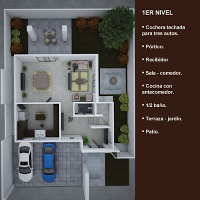 plano planta arquitectonica primer nivel patio