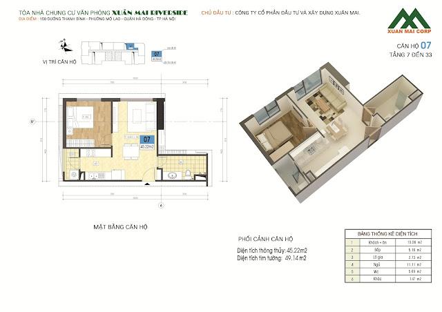 Thiết kế căn hộ 07 - dt 45m Xuân Mai Riverside