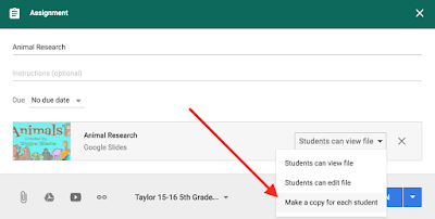 Google Classroom for elementary digital activities