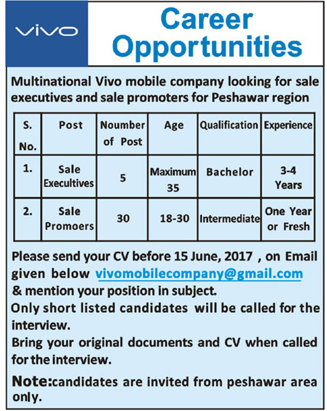 Jobs In  Vivo Mobile Company Peshawar 2 June 2017