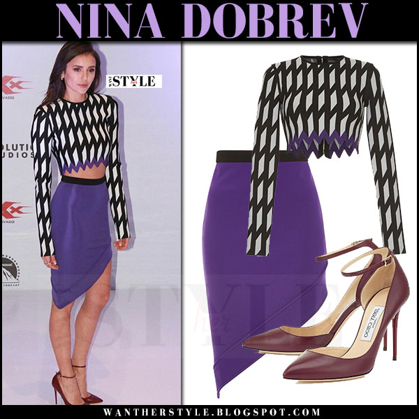David Koma in geometrical print crop top and purple mini skirt david koma what she wore red carpet