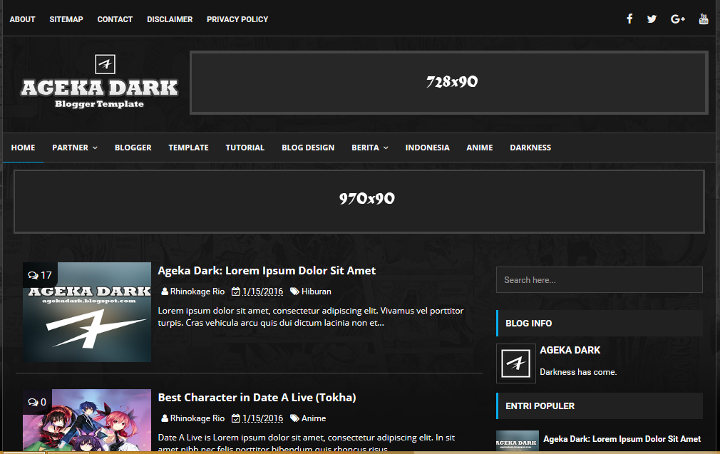 Ageka Dark High CTR Responsive Blogger Template - Blog privacy policy template