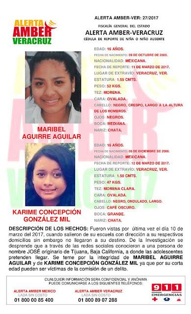 Activan Alerta Amber para Maribel Aguirre y Karime Concepcion en Veracruz