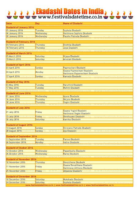 2016 Ekadashi Dates JPG File For Download