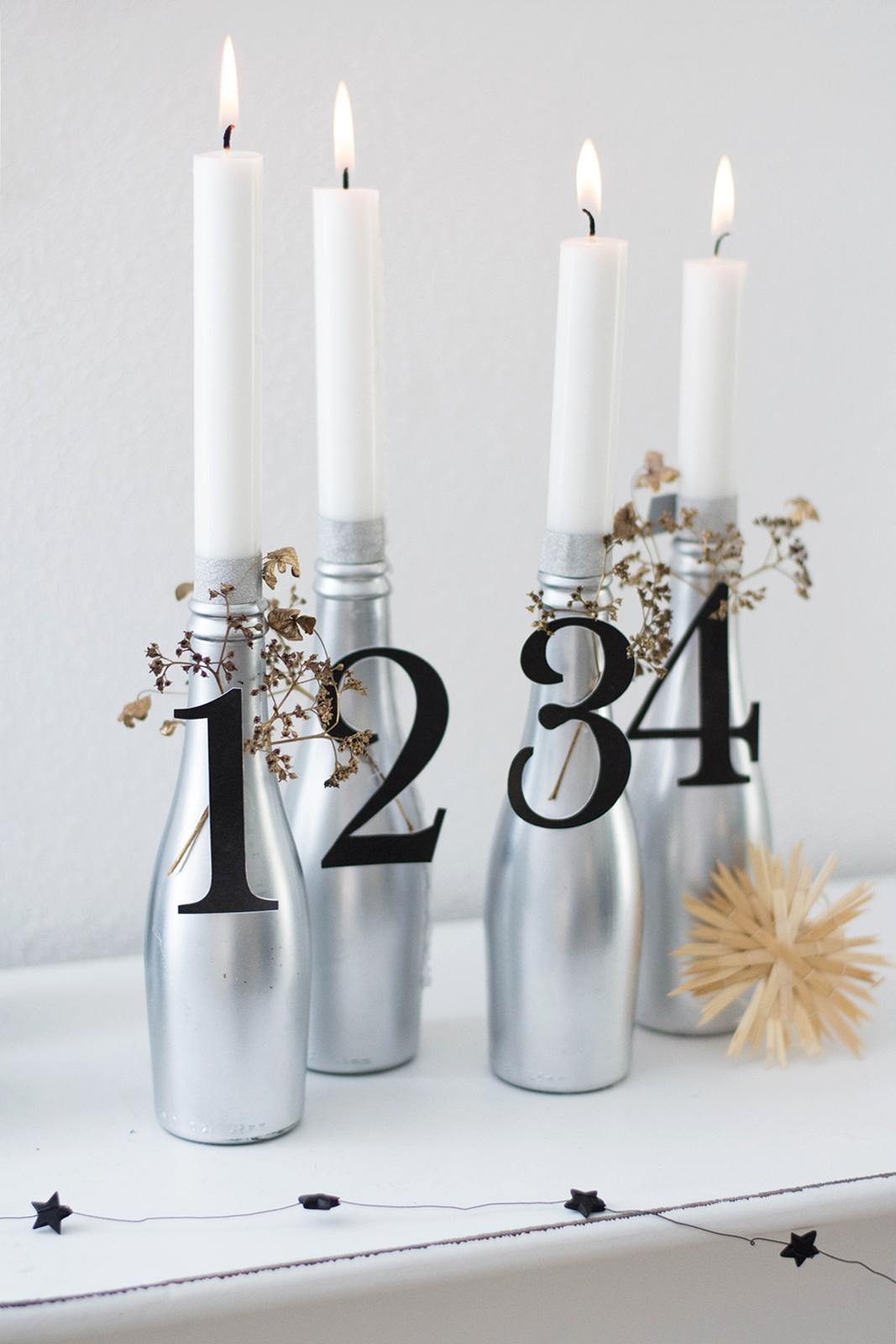 DIY moderner Adventskranz aus Flaschen
