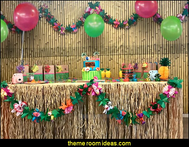 Raffia Table Skirts   Tropical party decorations - tropical party ideas - ALOHA Hawaii Luau Party Decorations - Luau Hawaiian Grass Table Skirt raffia Decorations - Hula Hibiscus Tropical Birthday Summer Pool Party Supplies - tiki party pineapple party decorations - beach party - Birthday party  photo backdrop - tropical themed cake decorations - beach tiki themed table decorations -  party props - summer party