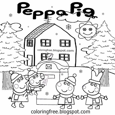 Snowfall Christmas post box wintry weather landscape picture Peppa Pig coloring in pages cute piggy