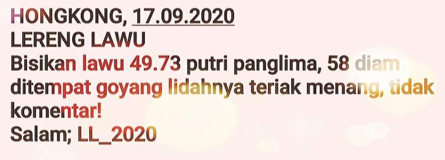 Kode syair Hongkong Kamis 17 September 2020 114