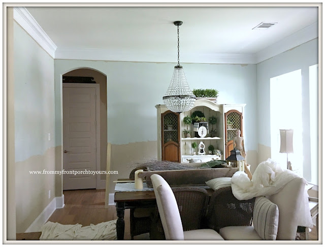 French Country Farmhouse Dining Room-Sherwin Williams-Sea Salt-From My Front Porch To Yours