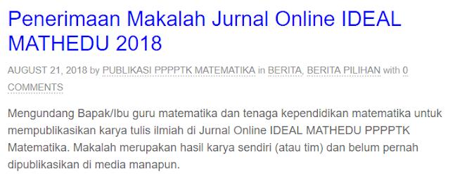 Penerimaan Makalah Jurnal Matematika 2018