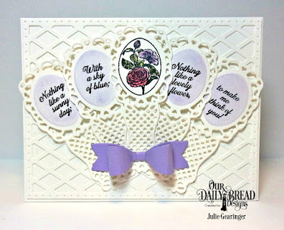 Our Daily Bread Designs Stamp Set:Lovely Flower, Custom Dies: Lattice Background, Fancy Fan, Small Bow