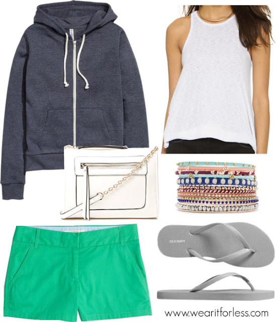 "FOREVER 21 faux gemstone bangle set • Forever 21 • $9.90 FOREVER 21 zipped faux leather crossbody • Forever 21 • $19.90 H&M - Hooded Sweatshirt Jacket - Black - Ladies • H&M • $19.99 Classic Flip-Flops for Women • $2.50 Free People 'Long Beach' Tank • Free People • $20 Factory 3"" chino short • J.Crew Factory • $19.95"