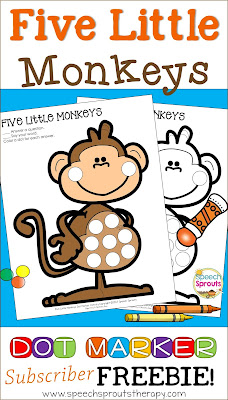 FREE Five Little Monkeys Speech Therapy Activity for Dot Markers & more! www.speechsproutstherapy.com