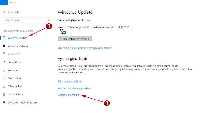windows 10 update bant genişliği