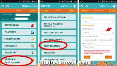 Menu melihat transaksi BNI mobile