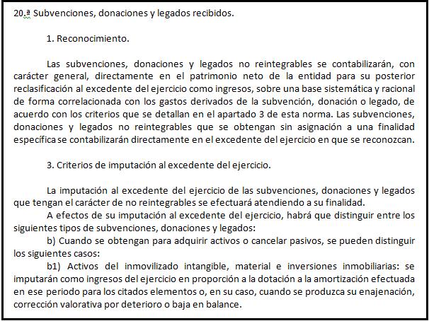 Imputación legados entidades sin ánimo de lucro BOICAC 100 Consulta 6