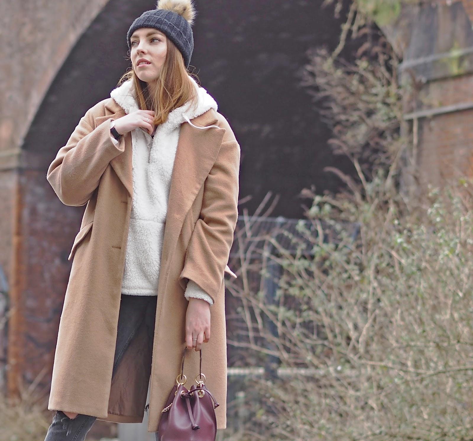 borg hoody camel coat