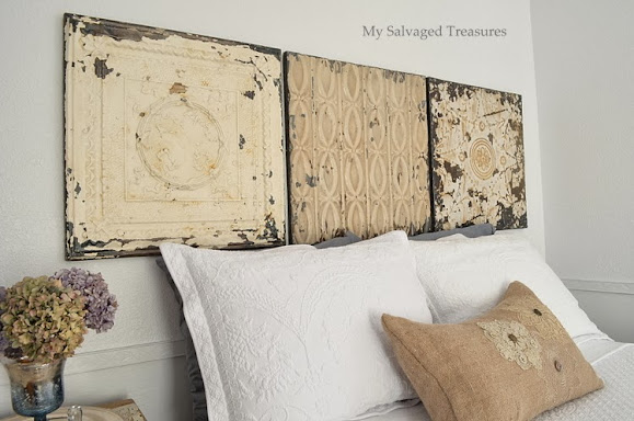 vintage tin ceiling panel headboard
