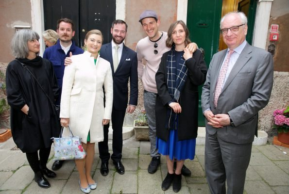 Prince Guillaume and Princess Stephanie visited Luxembourg, Belgium and Scotland pavilions in 57th Biennial of Contemporary Art in Venice