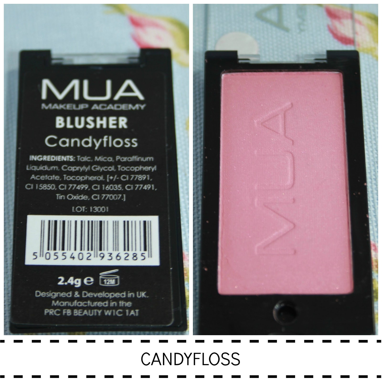 MUA POWDER BLUSHER SWATCH CANDY FLOSS