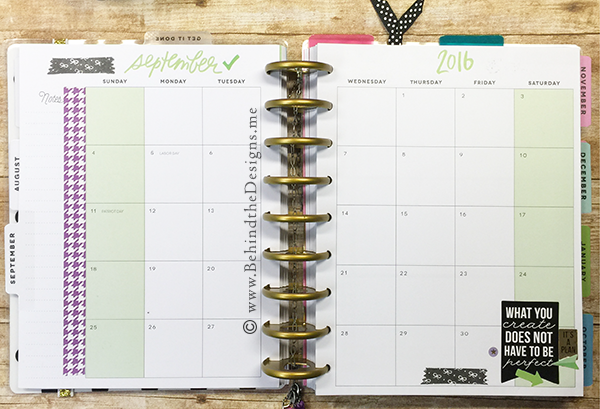 Predecorated September Month Spread in my Happy Planner | Behind the Designs DIY Craft and Planning Blog