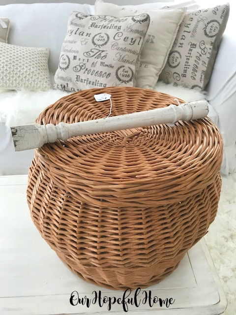 vintage baluster willow basket storage ottoman