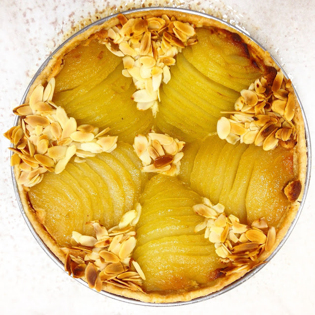White Wine Poached Pear Version of Tart