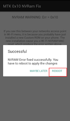 NVRAM Error fixed successfully. You have to reboot to apply the changes