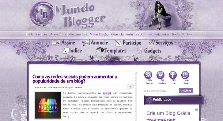 Mundo Blogger em 26/12/2013