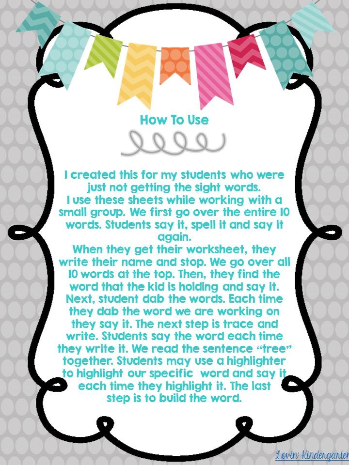 Lovin\' Kindergarten With Mrs. Lindsey: Sight Word Worksheets for the ...