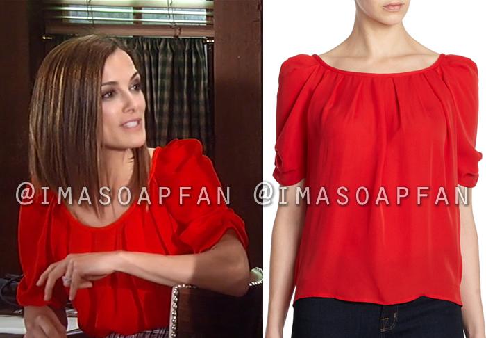 Hayden Barnes, Rebecca Budig, Pleated Red Silk Top, Joie, General Hospital, GH