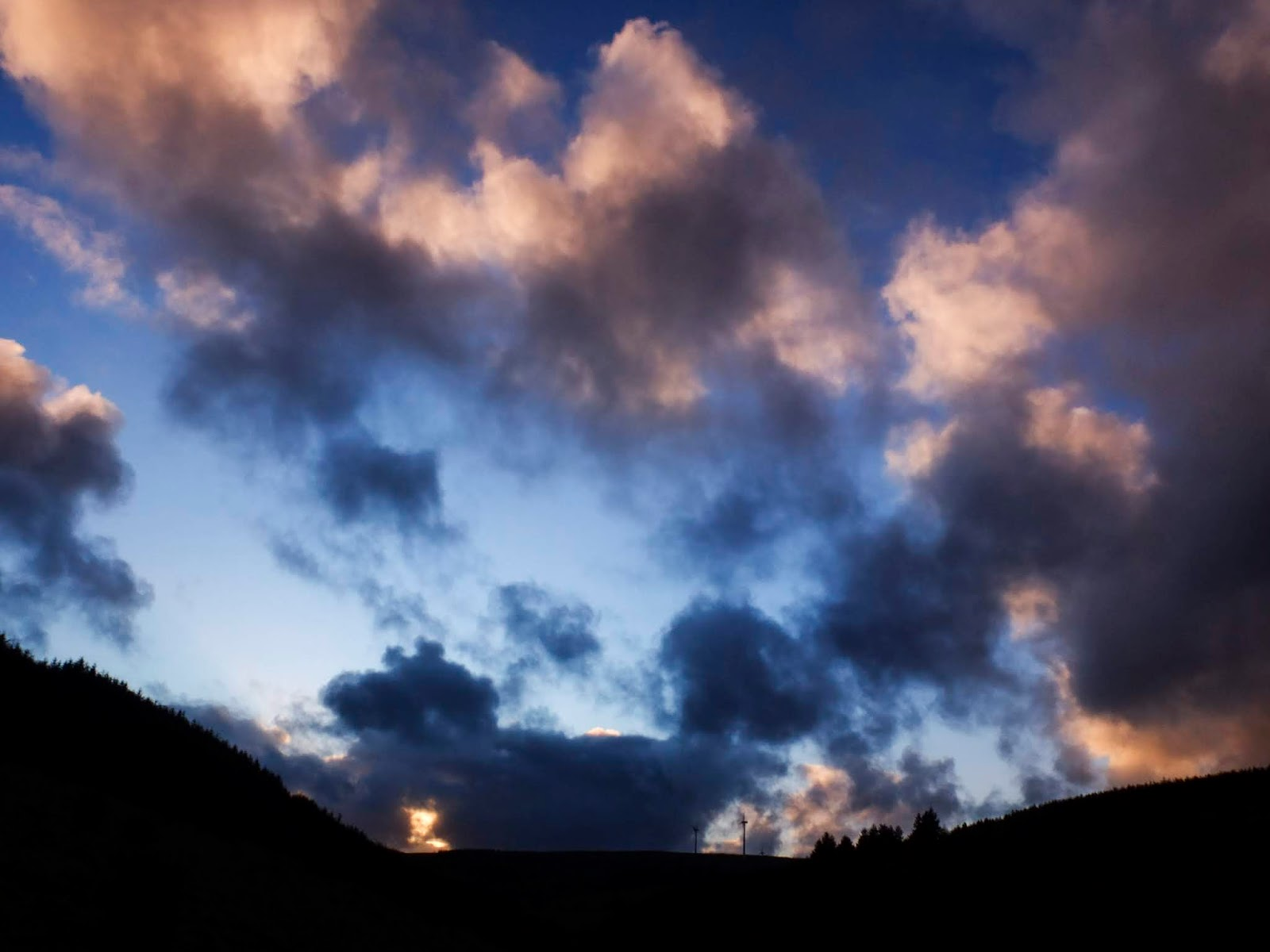 Sunset clouds in a valley in the Boggeragh Mountains in North Cork.