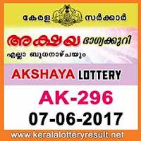 Akshya Lottery AK-296 Results 7-6-2017