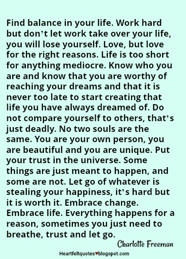 Find Balance In Your Life Heartfelt Love And Life Quotes