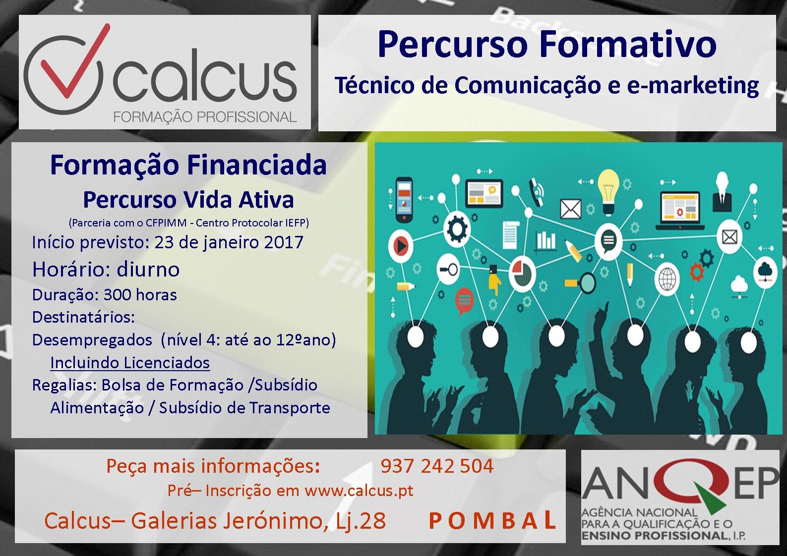 Curso remunerado em Pombal (Percurso de Técnico de Comunicação e e-Marketing)