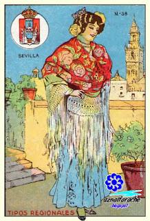 Traje típico de Sevilla - Tipos regionales - Cromos primera mitad siglo XX