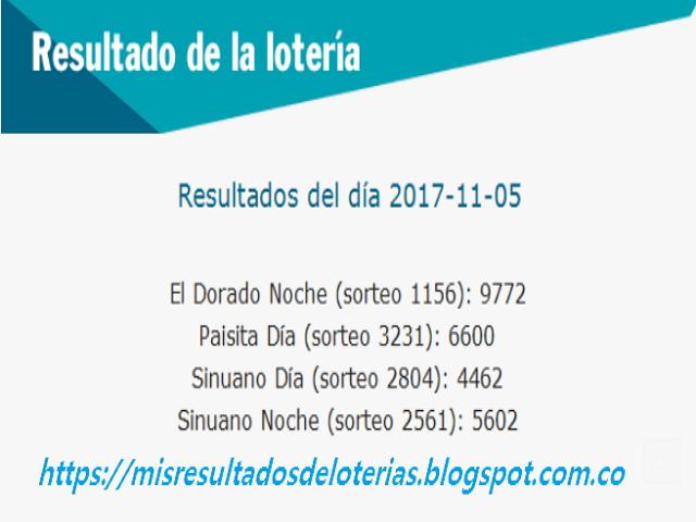 Como jugo la lotería anoche | Resultados diarios de la lotería y el chance | resultados del dia 05-11-2017