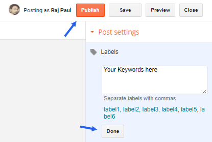 Add labels to blogger posts
