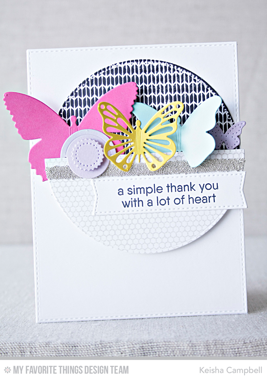 Handmade card from Keisha Campbell featuring Kind Thanks stamp set, Mini Hexagon Background and Sweater Stitch Background stamps, Flutter of Butterflies - Lace, Flutter of Butterflies - Solid, Hip Clips, Pierced Circle STAX, and Blueprints 21 Die-namics #mftstamps