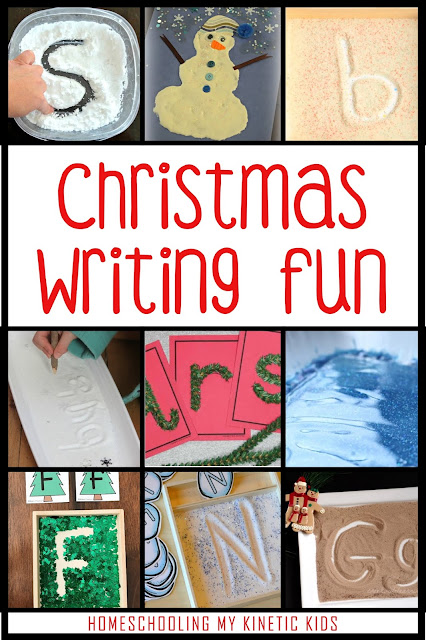 Christmas Themed Writing Fun // 45 Ways to Play During Winter Break // Homeschooling My Kinetic Kids // Keeping Kids Busy During Christmas // Slime Recipes // Play Dough // Sensory Bins // Handwriting Practice // Snow Play