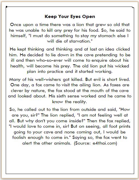 dongeng bahasa inggris tentang singa