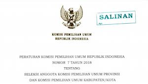 Download PKPU RI Nomor 7 Tahun 2018