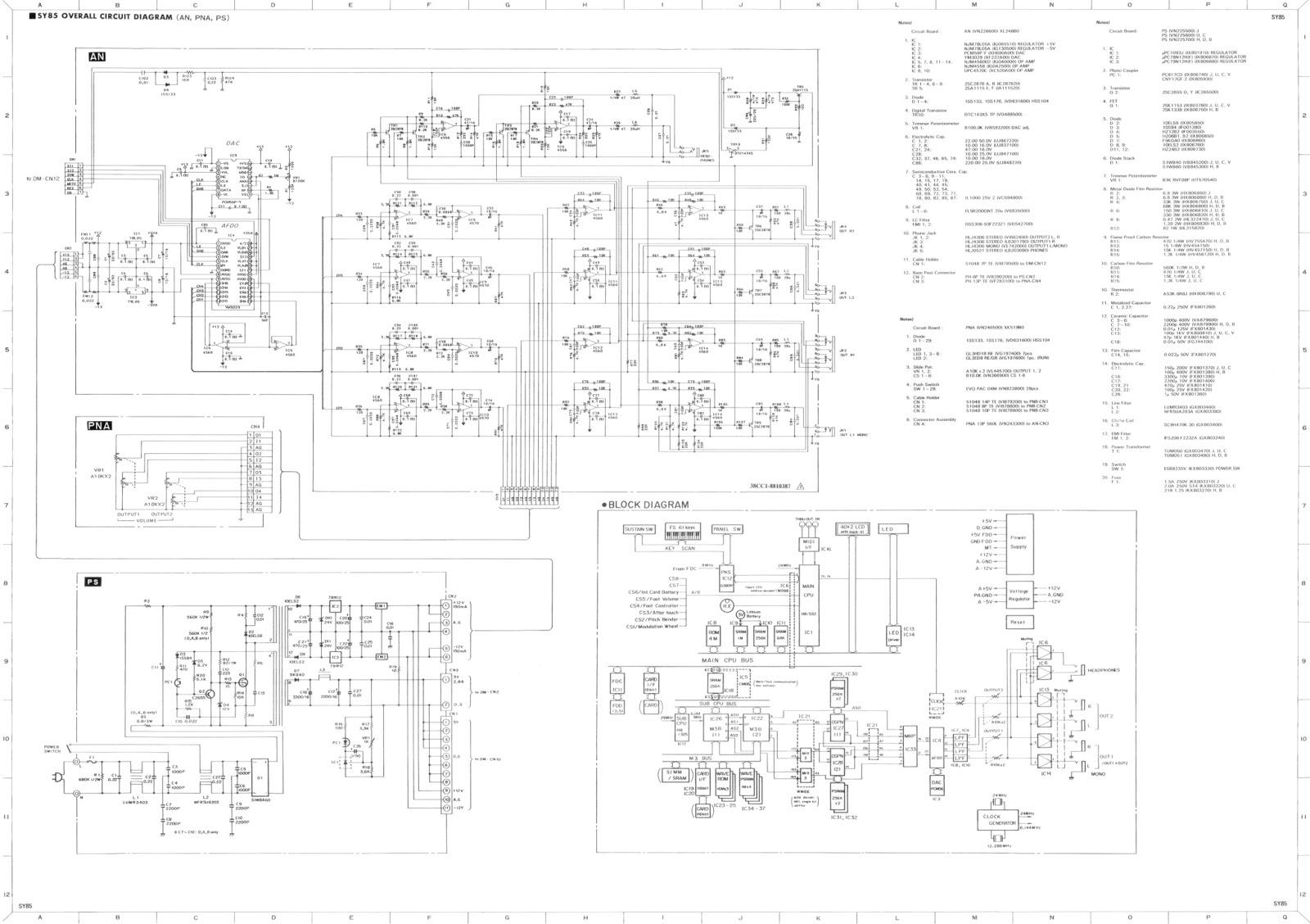 Elektrania: Yamaha SY 85 Technical Data Schematics