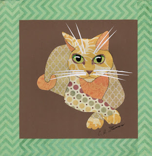 With its various colors and patterns, this cat collage shows off the personality of a paper cat that reminds me of my real ones!