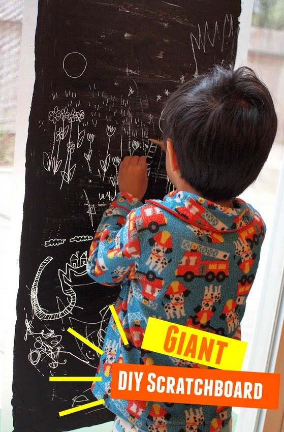 Kid Art- How to make GIANT diy scratchboard with the kids.  Easiest craft EVER.