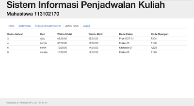 aplikasi penjadwalan mata kuliah dengan php