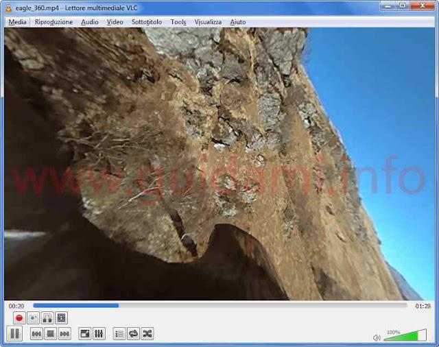 VLC 360 video a 360 gradi in riproduzione